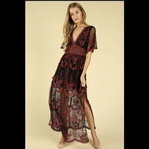 NWT Embroidered Maxi Dress